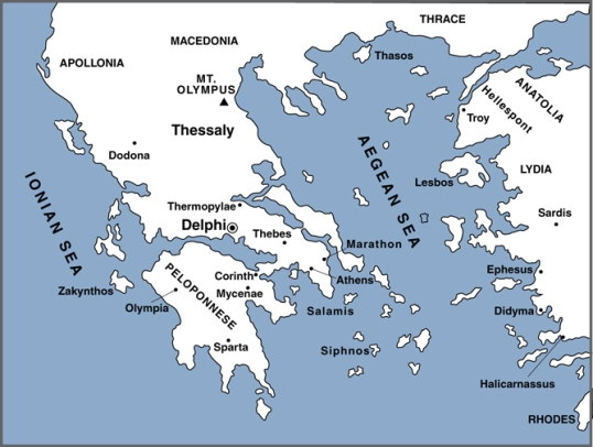 Map of Greece and Asia Minor. Map from the Rosicrucian Archives